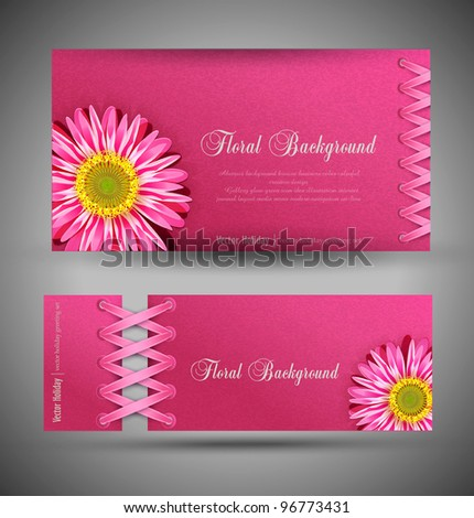vector set of pink with flowers (template design element) - stock vector