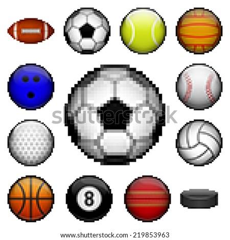 Stock Photo Vector set of pixel sports balls