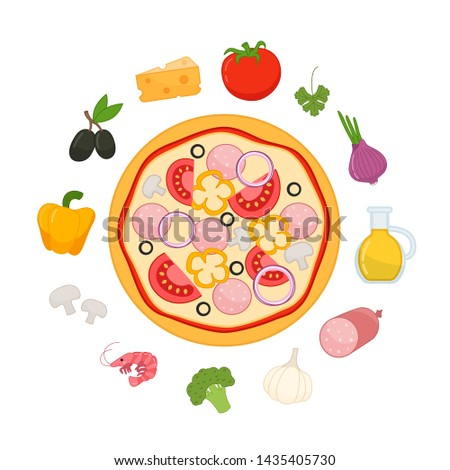 Vector set of pizza ingredients in cartoon style.