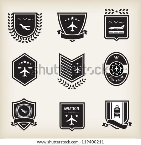 Vector set of plane aviation badge and labels