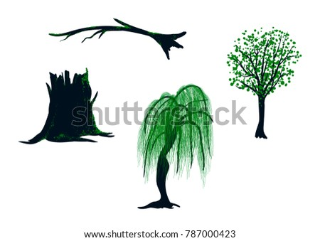 vector set of plants covered by