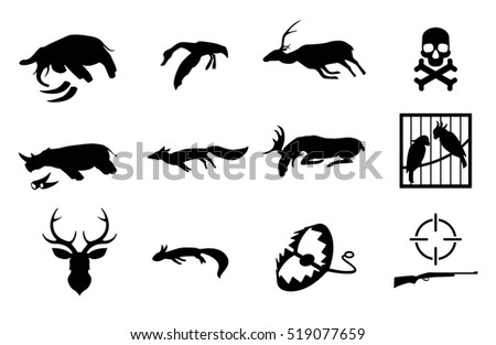 Vector set of poaching and illegal animal hunting and catching icons. Social problem of danger for safety of wildlife. Pictograms of dead animals, birds in cage, dummy, trap and gun. Stop poachers.