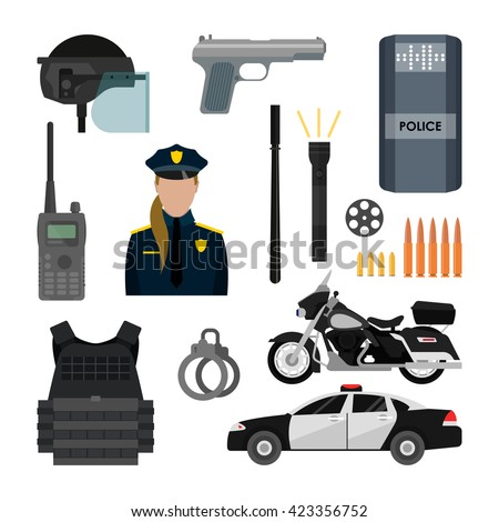 vector set of police objects