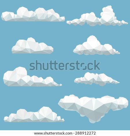 vector set of polygonal clouds