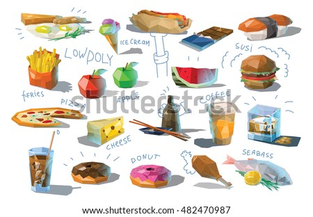 Vector set of polygonal food and drink illustration, modern low poly icons, fast food, japanese cuisine, coffee, coke, fruits, sweets, fish, isolated different dishes, breakfast, cheese, pizza