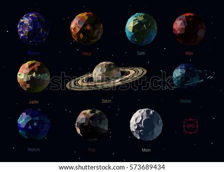 vector set of polygonal planets