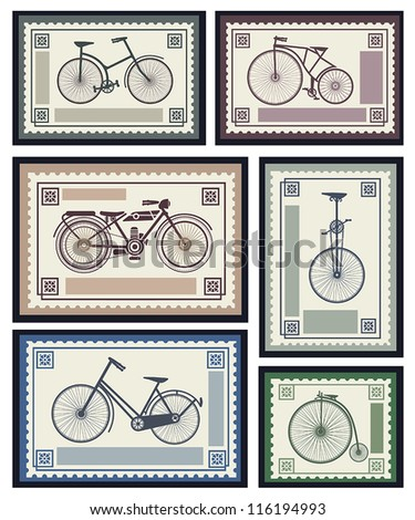 Vector set of postage stamps in the transport theme