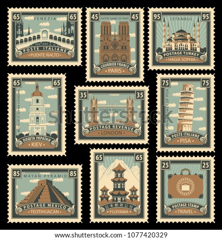 Vector set of postage stamps on the travel theme with different historical architectural sights landmarks