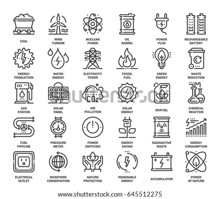 Vector set of power and energy flat line web icons. Each icon with adjustable strokes neatly designed on pixel perfect 48X48 size grid. Fully editable and easy to use.