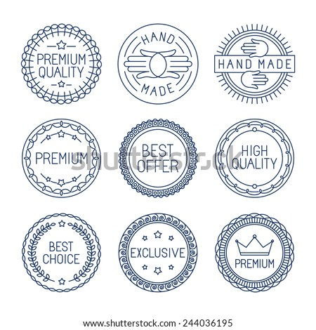 Vector set of premium labels and badges in line style - handmade, best choice and high quality