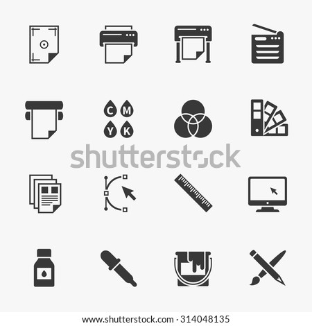 vector set of printing icons....