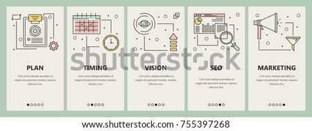 Vector set of project concept vertical banners. Plan, Timing, Vision, Seo, Marketing web templates. Modern thin line flat symbols, icons for web, print.