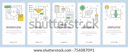 Vector set of project management concept vertical banners. Workflow, Email, Files exchange, Revenue, Employee web templates. Modern thin line flat symbols, icons for web, print.