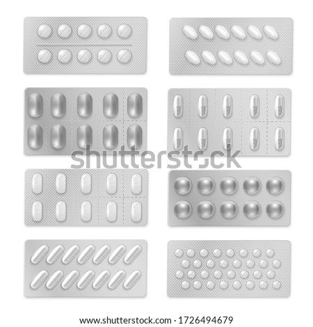 Vector set of protecting plastic packaging for pharmaceuticals, pills, capsules, troches, pellets, granules, drugs. Medical blister pack for different shape medicaments realistic mockup, template.