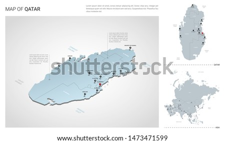 Vector set of Qatar country.  Isometric 3d map, Qatar map, Asia map - with region, state names and city names.