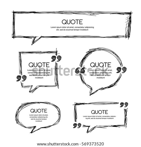 Vector set of quote blank template. Black and white banner background. Hand drawn sketch frames. Blank speech bubbles for text information and print design.