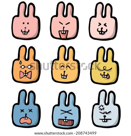 vector set of rabbit face