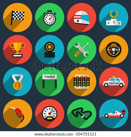 vector set of racing icons in