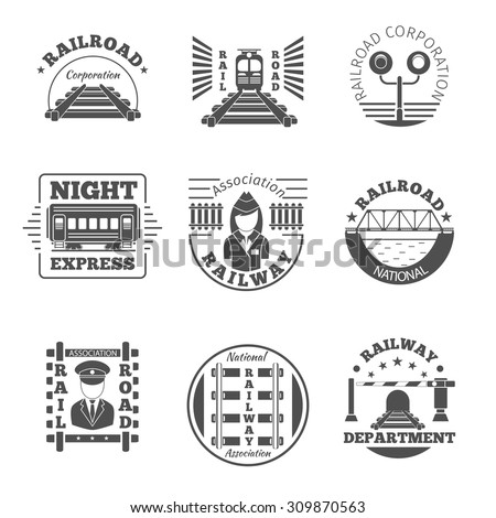 vector set of railway emblem
