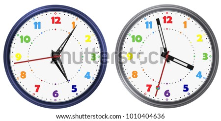 Vector set of Rainbow colors modern round clock with various clock hands. Rainbow colorful vector clock dial face. Vector clock arable numerals watch pointers. Modern vector watch image