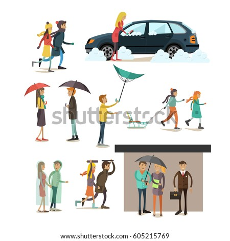 Stock Photo Vector set of rainy, windy, snowy weather concept flat style design elements, icons isolated on white background. Characters walking in blizzard, storm and rain.