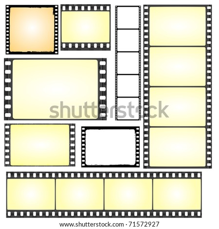 vector set of real and grunge film frames