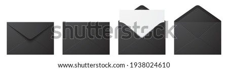Vector set of realistic black envelopes in different positions. Folded and unfolded envelope mockup isolated on a white background. Foto stock ©