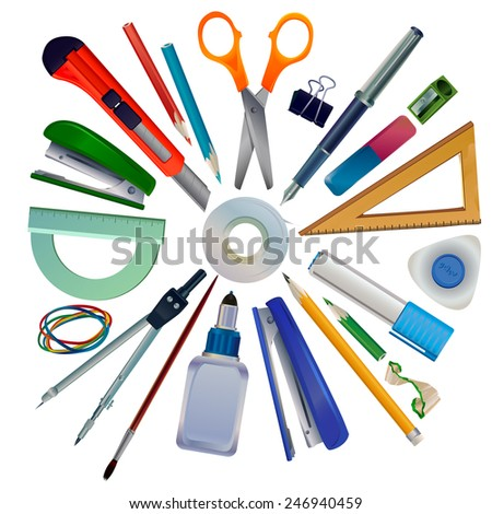 Vector set of realistic drawings stationery