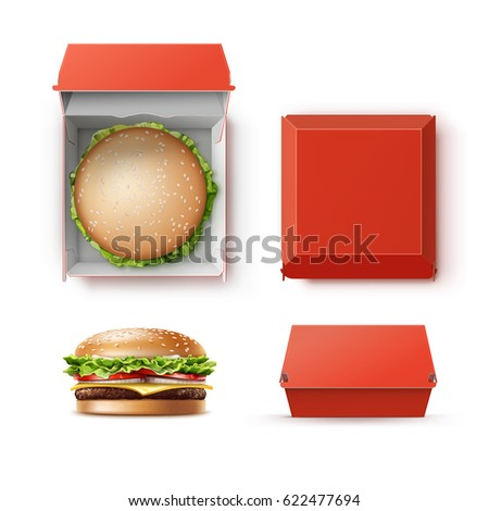 Vector Set of Realistic Empty Blank Red Carton Package Box Container for Branding with Hamburger Classic Burger American Cheeseburger Close up Top Side View isolated on white Background. Fast Food