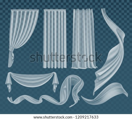 Vector set of realistic fluttering translucent white cloths, soft lightweight clear material and curtains isolated on transparent background