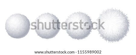 Vector set of realistic fur pompons isolated on white background. Eps8. RGB. Global color