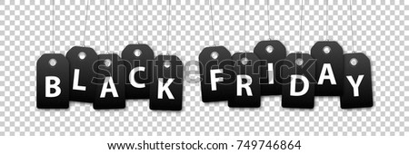 Vector set of realistic isolated blank price tag coupons for Black Friday sale for decoration and covering on the transparent background.