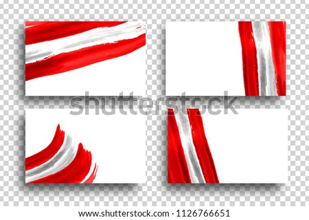 Vector set of realistic isolated cards with paint Peru flag for 28th July Independence Day in Peru for decoration and covering on the transparent background.