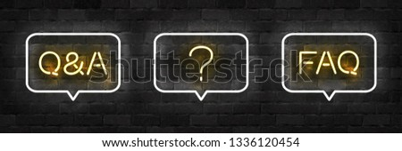 Vector set of realistic isolated neon sign of Q and A, FAQ and Question logo for template decoration and layout covering on the wall background. Concept of Questions and Answers.