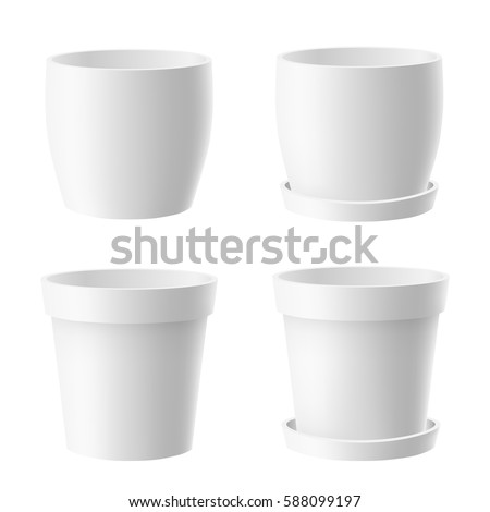 Vector set of realistic isolated white flower pot on white background 商業照片 ©