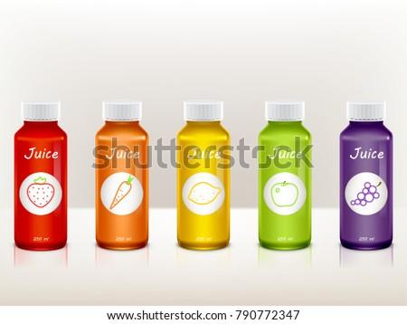 8 juices bottle vector mock up free vector art at vecteezy