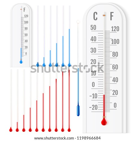 Vector set of realistic liquid thermometers with celsius and fahrenheit scales, red and blue indicator. Vector illustration