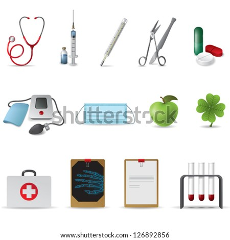 vector set of realistic medical icons