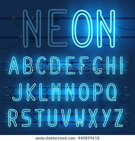 Vector set of realistic neon letters of the english alphabet with wires on blue background. Glowing neon light latin alphabet font. Type letters, neon tube letters on dark background. Lights on or off