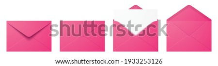 Vector set of realistic pink envelopes in different positions. Folded and unfolded envelope mockup isolated on a white background.