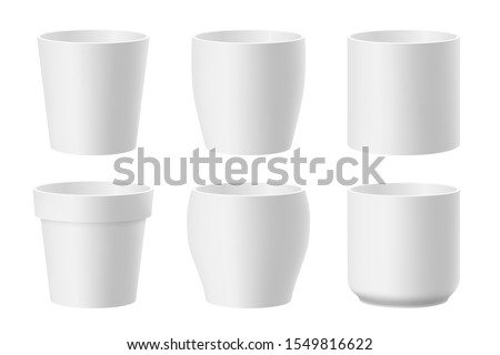 Vector set of realistic white ceramic flower pots isolated on white background. Pots of different shapes. 3D illustration 商業照片 ©
