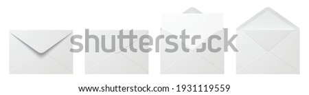 Vector set of realistic white envelopes in different positions. Folded and unfolded envelope mockup isolated on a white background.