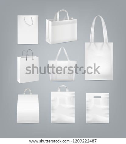 Vector set of realistic white shopping bags with handle made from white paper, plastic and canvas isolated on background