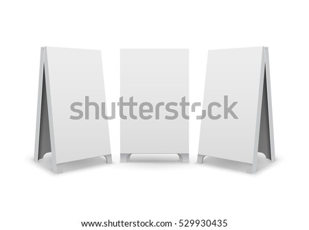 Vector Set of Rectangular Empty Blank Advertising Street Handheld Sandwich Stands Sidewalk Signs Isolated on White Background