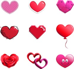 Vector set of red and pink hearts in different styles: cloth, glossy, mechanical, grunge, pixelated, balloon, rose petals, intertwined 3D, smiling emoticon. Themes: love, union, marriage, Valentine.