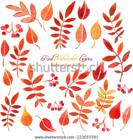 vector set of red autumn