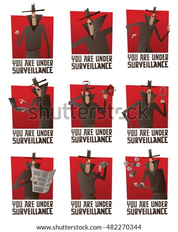 vector set of red banners with