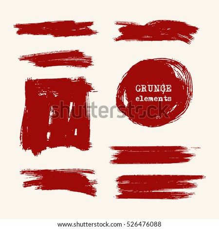 Vector set of red brush strokes. Grunge isolated elements. Grunge brushes for your design. Freehand. Watercolor splash. Acrylic stamp. Vector illustration.