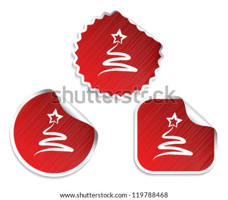Vector set of red Christmas stickers with tree