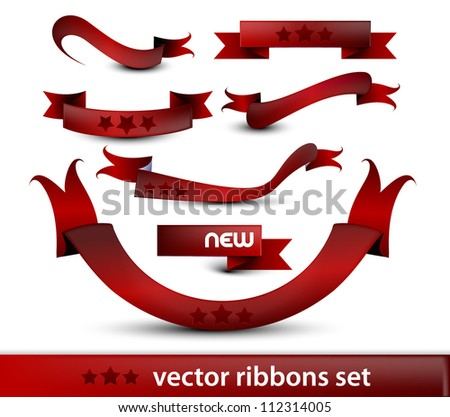 Vector set of red gift bows with ribbons.